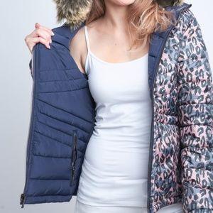 Reversible solid/leopard puffer jacket w/ hood